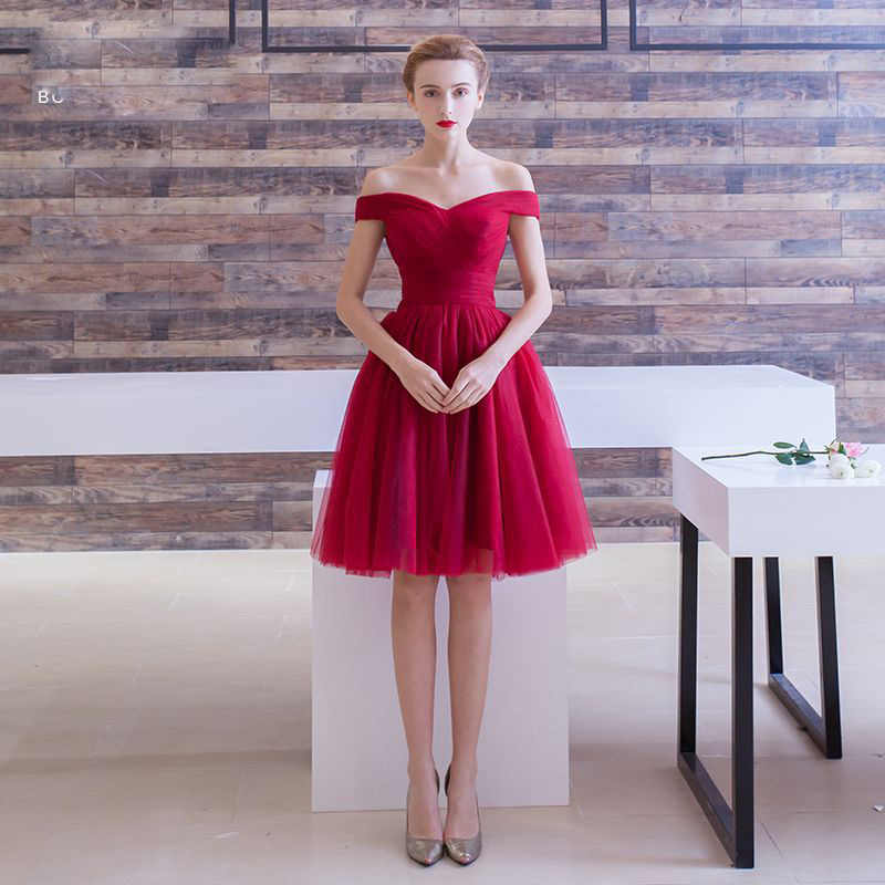 それの yiiya カクテルドレスの上膝女性パーティードレスブルゴーニュ夜会服半袖ローブカクテルドレス e1117