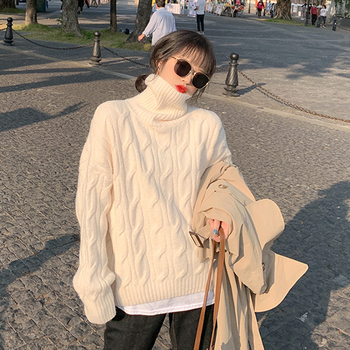 купить Korean Style Turtleneck Women Sweater Casual Loose Long Sleeve Knitted Pullover 2020 Autumn Winter Blue Jumper Sweaters Oversize в интернет-магазине