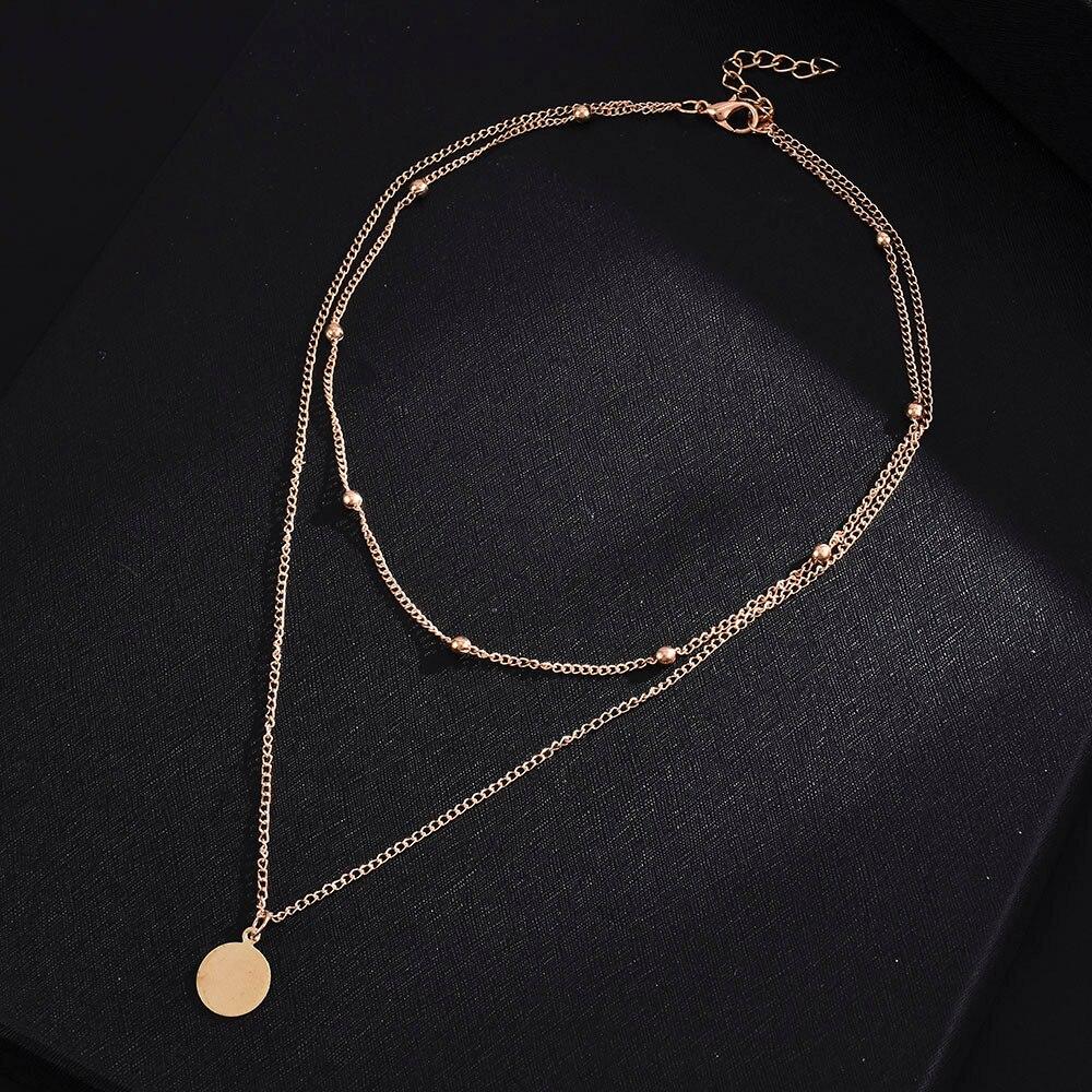 2020 nuova tendenza della moda struttura in metallo forma geometrica collana a forma di moneta in oro retrò Street gioielli da donna in stile semplice
