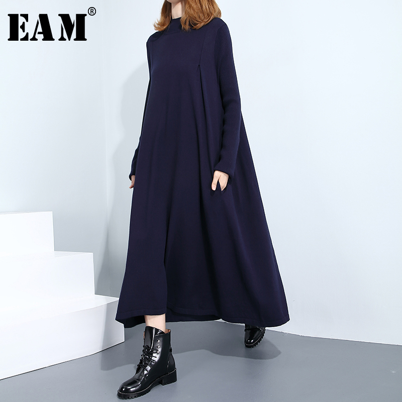 [EAM] Women Black Knitting Pocket Solid Dress New Round Neck Long Sleeve Loose Fit Fashion Tide Spring Autumn 2020 1B845