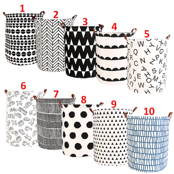 1pc Folding Laundry Basket Round Storage Bin Bag Large Hamper