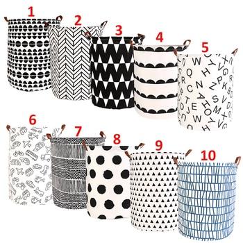 1pc Folding Laundry Basket Round Storage Bin Bag Large Hamper
