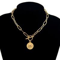 Vintage sculpté pièce Collier pour femmes en acier inoxydable couleur or médaillon pendentif Collier Long tour de cou Boho bijoux Collier