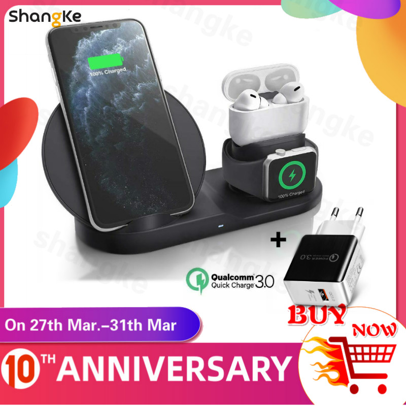 3 in 1 Fast Wireless Charger Dock Station Fast Charging For iPhone 11 11 Pro XR XS Max 8 for Apple Watch 2 3 4 5 For AirPods Pro title=