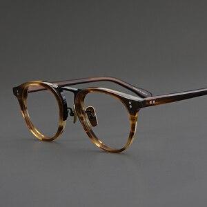 Мужские и женские очки из ацетатного титана ручной работы в ретро стиле, круглые очки, прозрачные оптические очки для близорукости по рецеп...