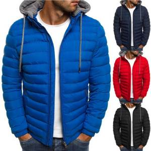 CYSINCOS Hooded Coat Clothing Winter Jacket Zipper Men Streetwear Causal Parka
