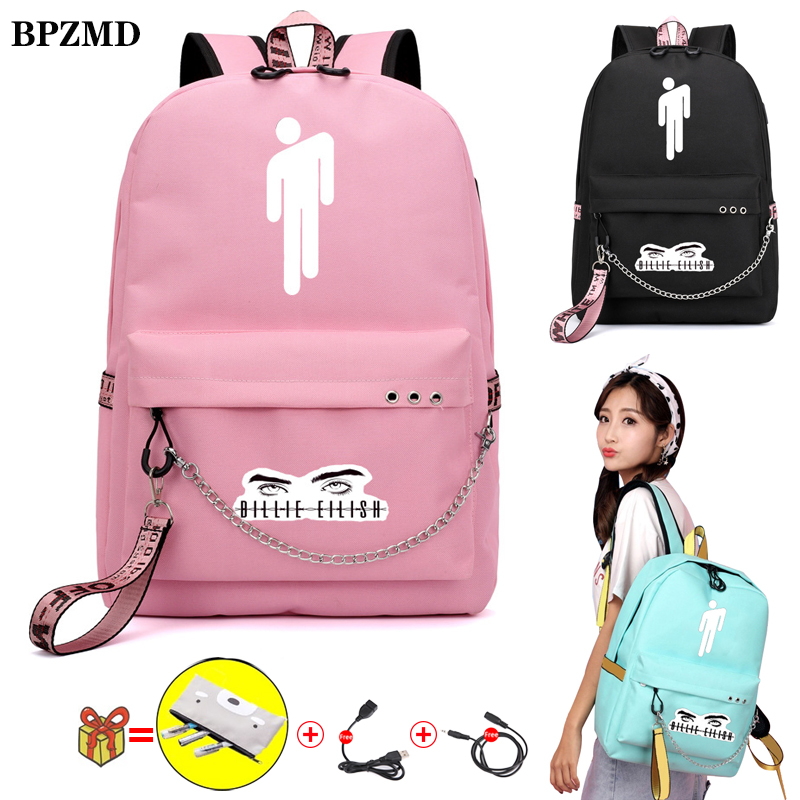 BPZMD Pink Billie Eilish Women Backpack For School Teenagers Girls Student Waterproof Canvas Bags Ubs Laptop Travel Backpack New