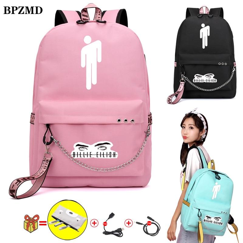 BPZMD Pink Billie Eilish Women Backpack For School Teenagers Girls Student Waterproof Canvas Bags Usb Laptop Travel Backpack New