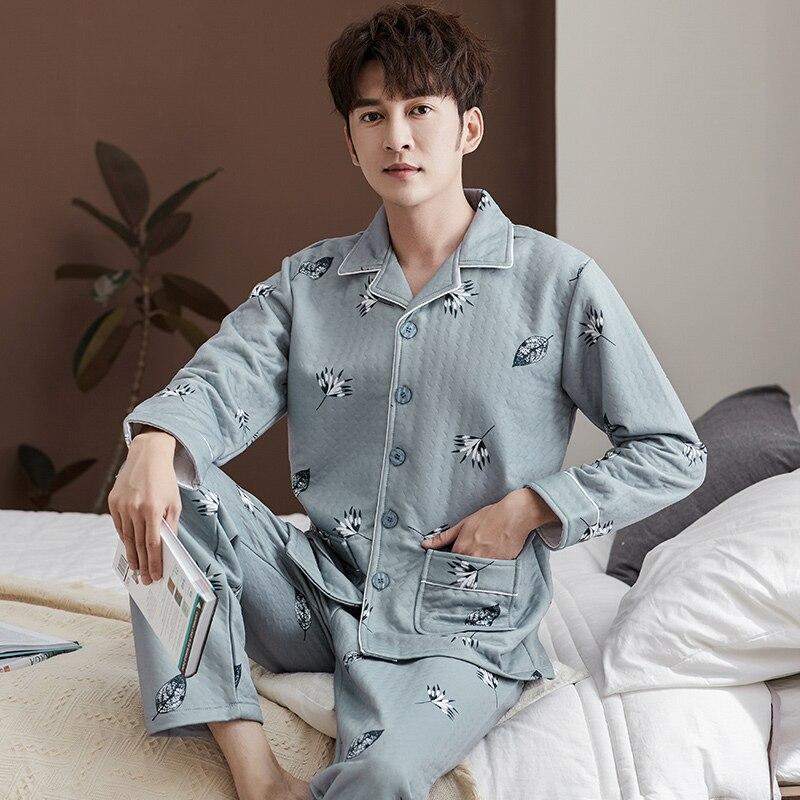 Cotton Pijama Set For Men Tshirt Cardigan Plus Size Underwear Long Sleeved Pajama Sleepwear Clothing Winter Nightwear Male