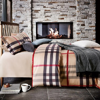 60s egyptian cotton sateen Scottish plaid Bedding set duvet cover bed sheet pillows case 4pcs king queen size