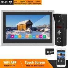 Homefong sem fio vídeo porteiro ip telefone da porta wi fi 10 polegada tela de toque monitor hd 1080p campainha casa intercom para villa
