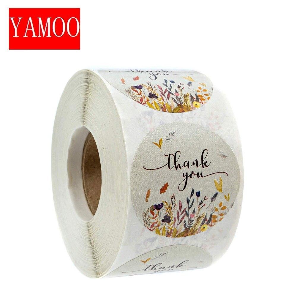 Спасибо наклейки этикетки для печати круглый стержень для упаковки персонализированные декоративные канцелярские изделия и осени в цвето...