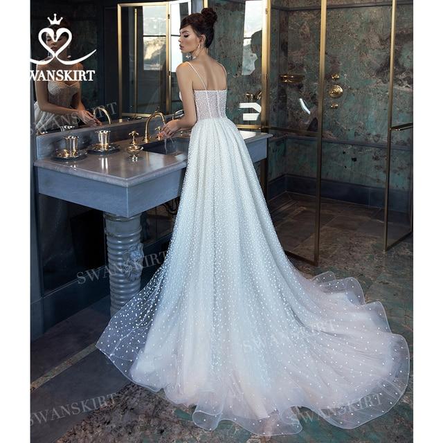 Shiny Sleeveless Wedding Dress 2021 New Beach Beaded A-Line Train Bridal Gown Princess SwanSarah L103 Plus Size Vestido De Novia 3