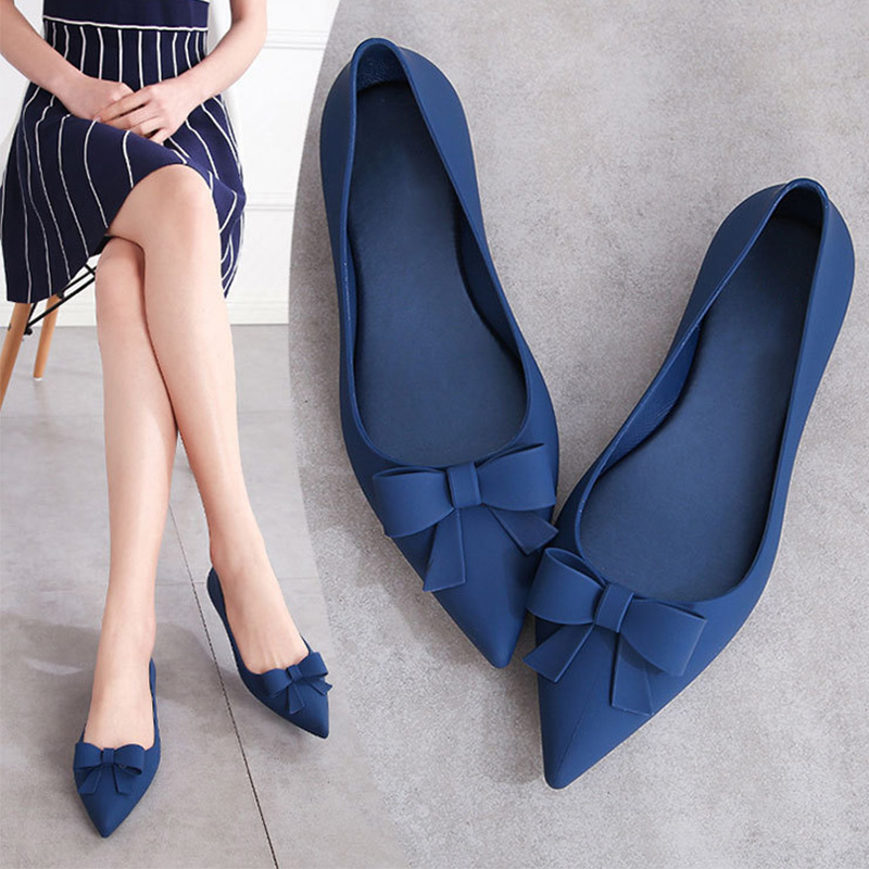MCCKLE Summer Shoes Bowtie Elegant Slip On Women's Ladies Women Pointed Toe Woman Flat Female 2020 Fashion Jelly Shoes New