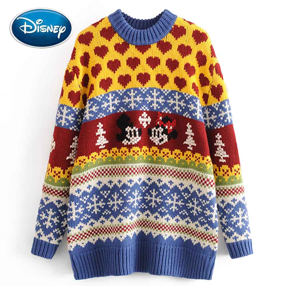 Disney Stylish Minnie Mickey Mouse Love Cartoon Print O-Neck Pullover Colorful Streetwear Women Sweater Knitted Long Sleeve Tops