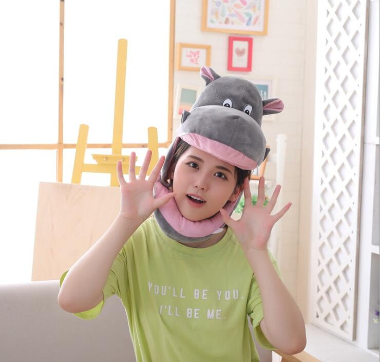 Head-Hat Plush-Toy Photograph-Props Christmas-Gift Birthday Hippo Girl Soft Party Adult