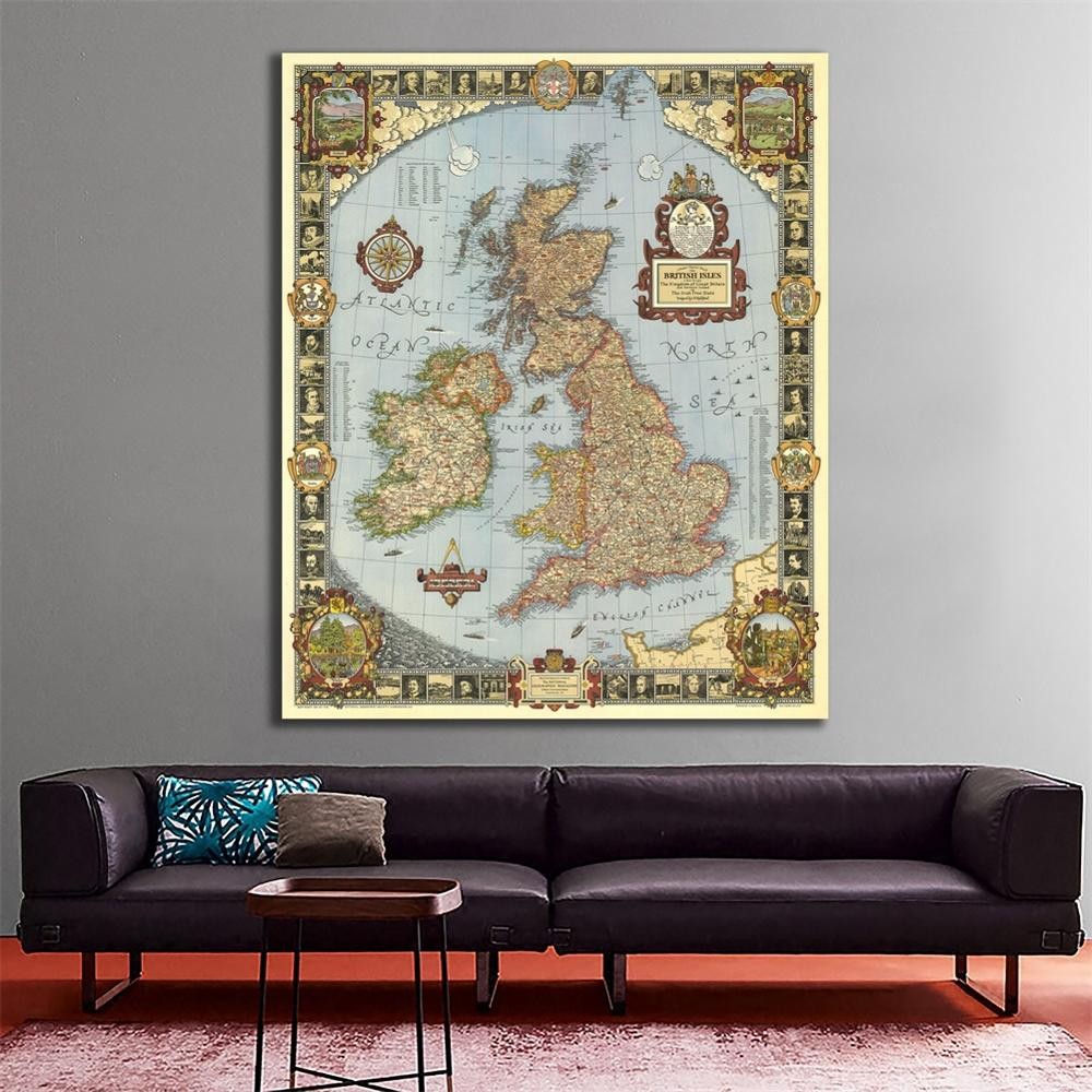 150x225cm HD Non-woven Waterproof Map For Research And Wall Decor 1937 Edition Vintage Map Of The Kingdom Of Great Britain