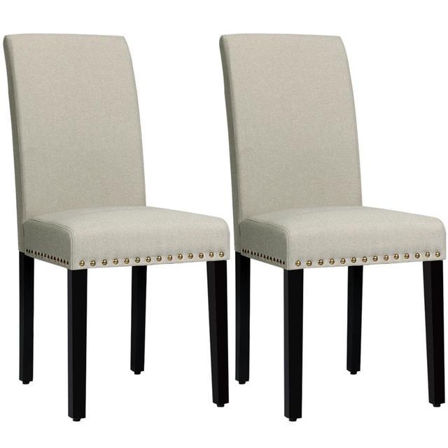 2 Fabric Dining Chairs w/ Nailhead Trim 1
