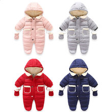 children's winter clothing Newborn Baby Girl Footies Bodysuits Boys Infant Girl Footie Rompers New Born Hooded Toddler Rompers(China)