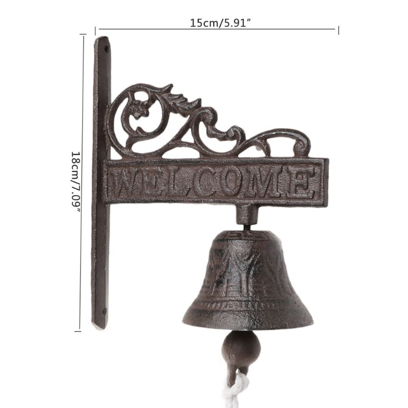 Antique Style Vintage Iron Hanging Door Bell Wall Mounted Welcome Doorbell Porch Home Garden Decoration