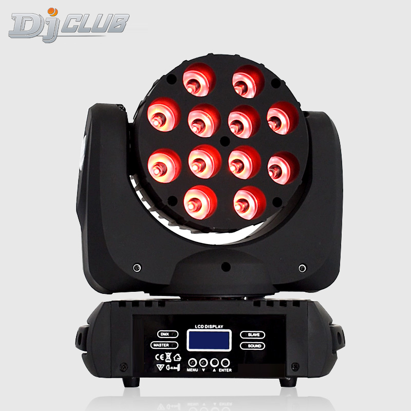 LED Beam Moving Head Light 12x12W RGBW Stage Lighting Quad LEDs With Excellent Pragrams DMX 9/16 Channels DJ Disco