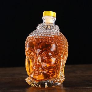 Image 1 - 750ML szklana butelka posąg buddy kryształ wody wino w butelce szklany kubek do wódka whisky napój szkło ślubne vasos de vidrio