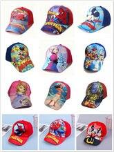 Primavera crianças bonito chapéu dos desenhos animados carros mickey spiderman congelado anna elsa bebê menina do menino beisebol crianças populares hip hop criança snapback