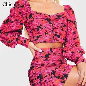 Image 3 - Chicology 2019 elegancki kwiatowy ruched 2 dwuczęściowy zestaw kobiet puff z długim rękawem krótki top wysokiej talii mini spódnica jesień zima ubrania