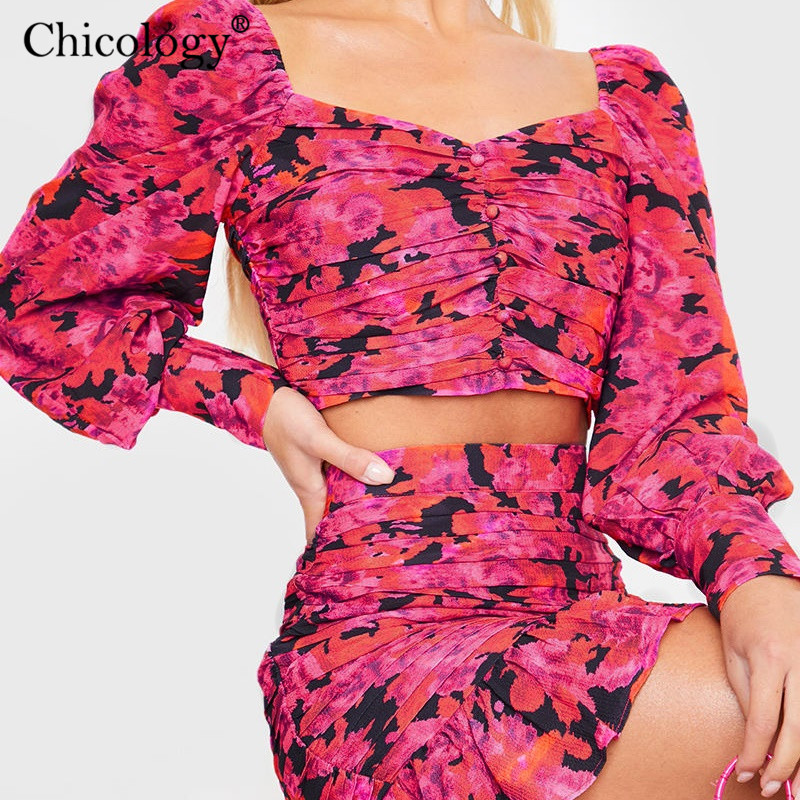 Image 3 - Chicology 2019 elegant floral ruched 2 two piece set women puff long sleeve crop top high waist mini skirt autumn winter clothesWomens Sets   -