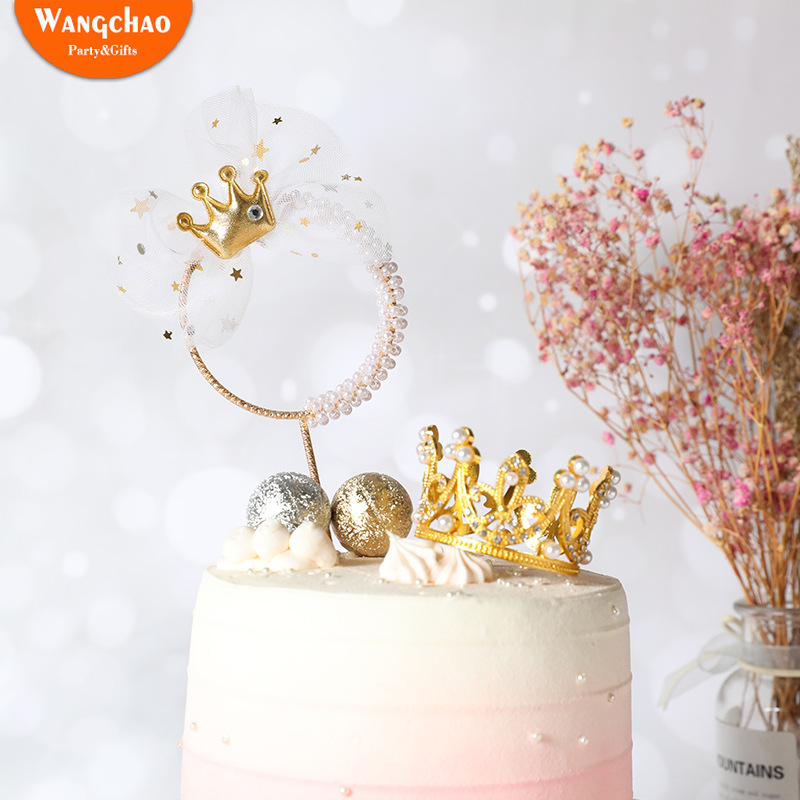 Romantic Pearl Crown Iron Garland Happy Birthday Cake Topper Prince Princess Theme Wedding Cake Decoration Favors Party Supplies