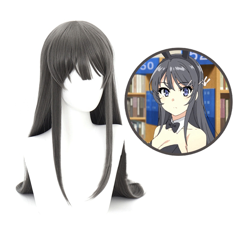 Schurke Nicht Traum Von Bunny Mädchen Senpai Sakurajima Mai Cosplay Perücken Synthetische Haar Lange Gerade Grau Haar Kopfbedeckungen