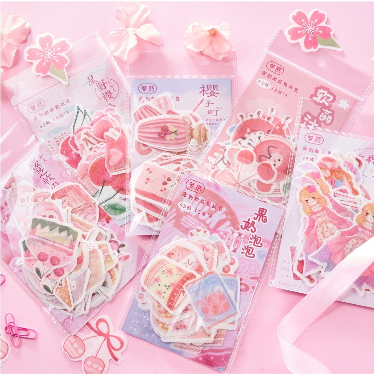 45pcs/1pack Kawaii Stationery Stickers Yingzhi Soft Series Diary Decorative Mobile Stickers Scrapbooking DIY Craft Stickers