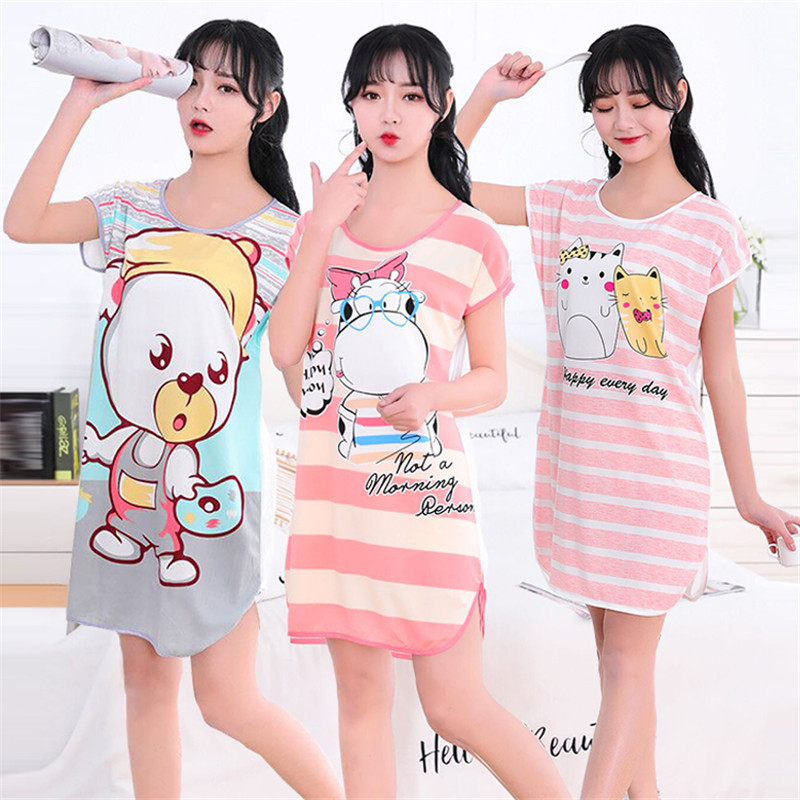 Cute Women Nightgown Sleepwear Cartoon Print O-neck Short Sleeve 26 Style Girl Night Gown Female Sleeping Dress Lady Sleep Wear