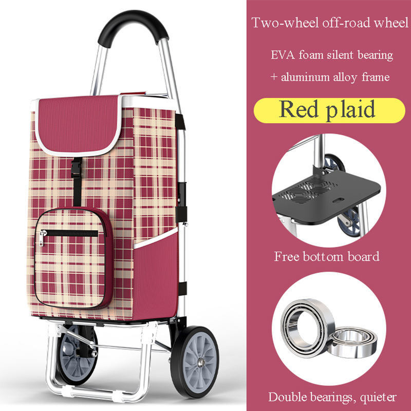 Six-wheeled portable stair-climbing trolley foldable storage supermarket shopping lightweight wear-resistant waterproof trolley