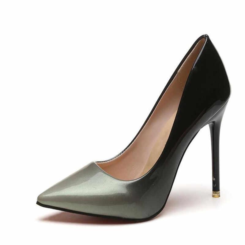 Artı boyutu 33-48 bayan pompaları yüksek topuklu ayakkabılar kadın Stiletto sivri burun kadın seksi parti ofis Lady düğün boyutu 12 bayan