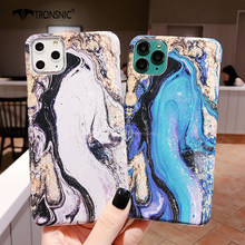 Marble Glossy Phone Case for iPhone 11 Pro Max XR X XS MAX Hard Blue Gray Shiny Luxury PC Cases for iPhone 6s 7 8 Plus Cover Hot(China)