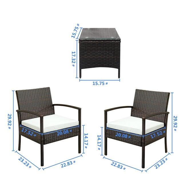 2pcs Arm Chairs 1pc Coffee Table Rattan Sofa Set Brown Gradient 6