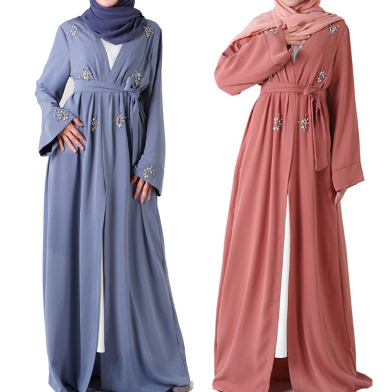 Mewah Muslim Baju Gamis Cardigan Berlian Elegan Manik Manik Kimono Jubah Panjang Gaun Jubah Vestidos Timur Tengah Eid Ramadan Pakaian Islamic Aliexpress
