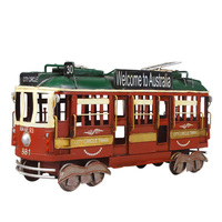 British Retro Double Layer Railcar Bus Model Handcrafts Miniature Figurines Home Decoration Accessories Modern Props Toys Gift