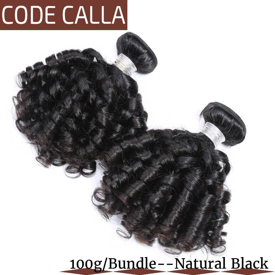 Code Calla Brasilianische Bouncy Lockiges Menschliches Haar Verlängerung 1/3/4 Bundles Pre-farbige Reine Haarwebart natürliche Dunkelbraun Schwarz Farbe