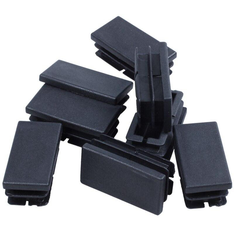 New 8 Pcs Black Plastic Rectangular Blanking End Caps Inserts 20mm X 40mm
