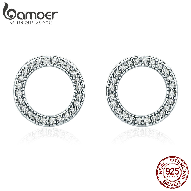 BAMOER Hot Sale Genuine 925 Sterling Silver Luminous Round Circle Stud Earrings For Women Sterling Silver Jewelry Gift SCE417
