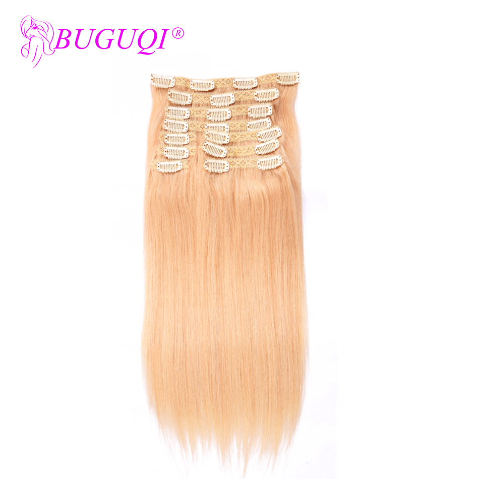 BUGUQI Hair Clip In Human Hair Extensions Brazilian #22 Remy 16- 26 Inch 100g Machine Made Clip Human Hair Extensions