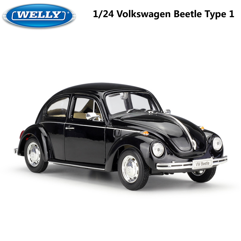 WELLY Diecast 1:24 Car Volkswagen Beetle Type 1 Classic Car Metal Alloy VW Model Car Toy Car For Kids Gift Decoration Collection