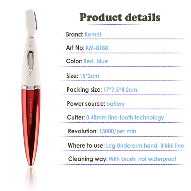 Kemei Eyebrow Trimmer Titanium Blade Electric Lady Wet/Dry Shaver Hair Trimmer Removal Epilator for Bikini Face Underarm 35D 3