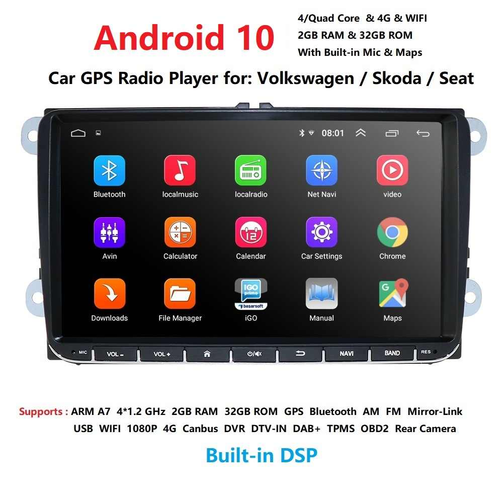 Android 10 Auto Auto Audio Voor Vw Polo Golf 5 6 Polo Passat B6 Cc Jetta Tiguan Touran Eos Sharan scirocco Caddy Swc Wifi Dab + Bt