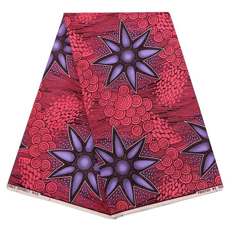 New Wax Fabric 2019 Fashion African Ankara Guaranteed Sunbelt Wax Printed Dark Red Fabric 6Yards\set