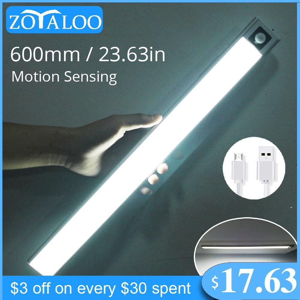 Zoyaloo Ultra Thin 20/40/60cm LED Rechargeable PIR Motion Sensor Closet Wardrobe Lamp Under Cabinet Aluminum Lamp Night Light