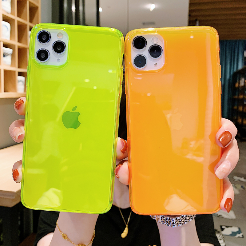 INS Hot fluorescent Shockproof transparent soft phone case for iphone 11 Pro Max XR XS Max 8 7 Plus trend silicone back cover 2