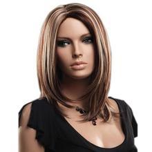 Высокая температура волокна Bobo парики женщин средняя часть прямые Омбре поддельные волосы